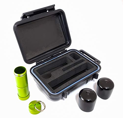 BOMBER CASE - Pax 2 & Pax 3 Smell Proof Case - Kit Includes Aluminum Material Bottle and Rubber Odor Proof Bumper End Caps - Accessory Kit