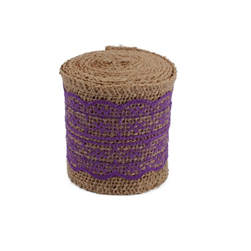 COOLAKE Burlap Lace Ribbon Natural Craft Ribbon Roll with Purple Lace for DIY Handmade Wedding Crafts Decoration 78 inch