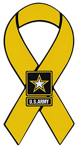 Crazy Sticker Guy Ribbon Shaped Magnet - US Army Yellow Ribbon Military Magnet - Cars, Trucks, SUVs, Refrigerators, Etc.