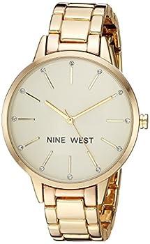 Nine West Women s Crystal Accented Gold-Tone Bracelet Watch