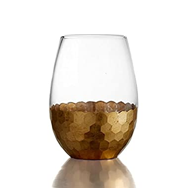 Fitz and Floyd 229705-ST Daphne Stem less Glasses (Set of 4 ), Gold