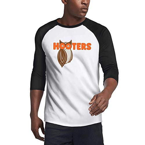 JMJMJMAS Mens Comfort T-Shirts Hooters-Restaurant-3/4 Sleeve Plain Raglan Shirts