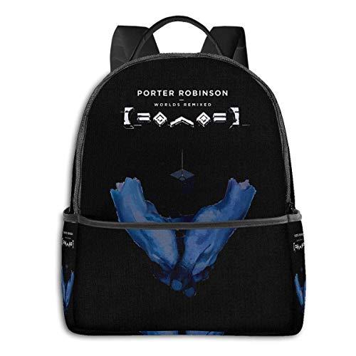 AOOEDM Porter Robinson Worlds Digitales Album 14,5-Zoll-Mode-Rucksack mit schwarzer Kante, Schultasche, Reisetaschen