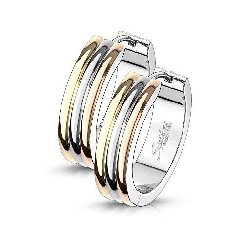 eeddoo® Damen Creolen-Ohrringe aus Edelstahl im Design Tricolor mit DREI verschieden farbigen Streifen (16)
