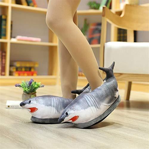 Bewinch Zapatillas Divertidas novedosas, Dibujos Animados Lindo Zapatillas de tiburón Invierno cálido Interior Peludo Zapatillas de Animal Zapatillas Interior Zapatillas Regalo Regalo para niñas,C