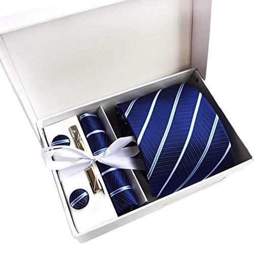 JUNGEN Corbata Estampada para Hombre con Raya Cuadros Punto Juego de Corbata y pañuelo Corbata Lisa Corbata de Informal con Gemelos Clip de Corbata Caja de Regalo Corbata