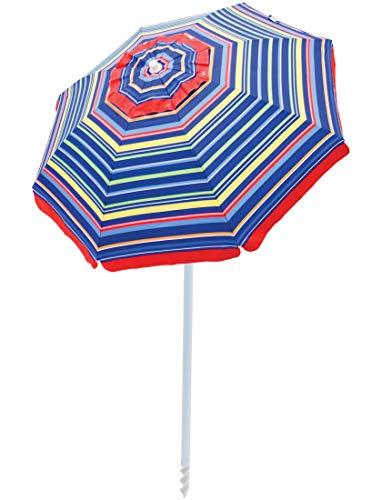 RIO Beach 6-foot UPF 50+ Beach Umbrella with Built-In Sand Anchor, Pop Surf Stripes