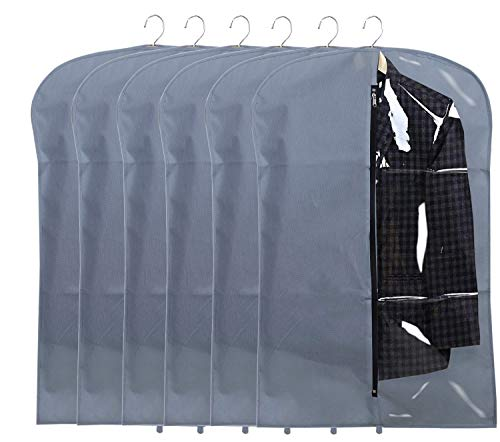 Kuber Industries 6 Pieces Half Transparent Non Woven Men's Coat Blazer Suit Cover (Grey) -CTKTC41321