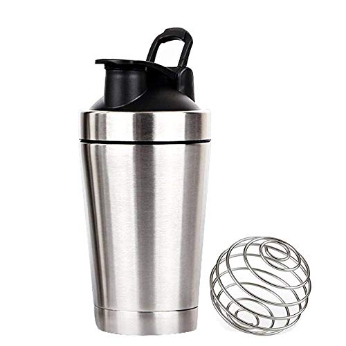 CHAOZHAOHENG Hot Water Pot Shaker Flasche Edelstahl Classic Protein Mixer Auslaufsicher Mixing Shaker Cup Tragbarer Loop Flip Top für Sport Fitness Ernährung