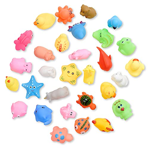 THE TWIDDLERS - 30 Floating Ocean & Farm Animal Bath Time Squirty Toys