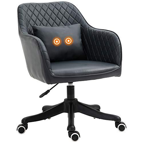Vinsetto Massage Bürostuhl Schreibtischstuhl Computerstuhl Drehstuhl Arbeitstuhl mit Vibrationsfunktion Armlehnen höhenverstellbar PU Anthrazitgrau 55 x 65 x 79-89 cm