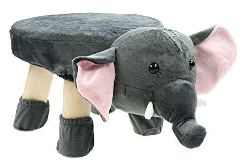 Creation Gross Taburete para niños, animales, funda de peluche y patas de madera, hasta 70 kg, 47 x 20 x 27 cm (elefante)