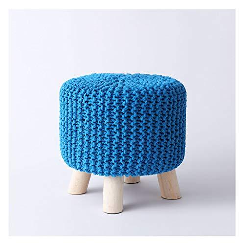 kiki Ottomane e poggiapiedi Poggiapiedi Intrecciata a Mano in Cotone Poggiapiedi Poggiapiedi Nordic Sgabello Rotondo Sgabello in Legno Sgabello con 4 Gambe Senza Skid (Color : Blue)