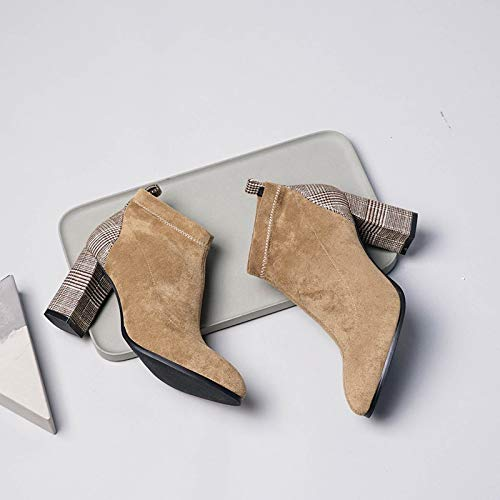 Shukun Enkellaarzen Herfst Hoge hak Hoge hak Laarzen Women'S Dik Met Frosted Martin Laarzen Elastische Sokken Laarzen
