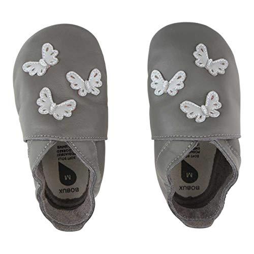 Bobux Zapatos para bebé, zapatos de bebé, regalo para bebé, mariposas grises, color Gris, talla 24 EU