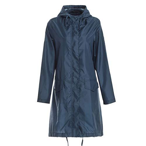 NJKHN Imperméable Poncho de Pluie imperméable élégant pour Femmes avec Capuche et Poches Blue Bleu océan , M