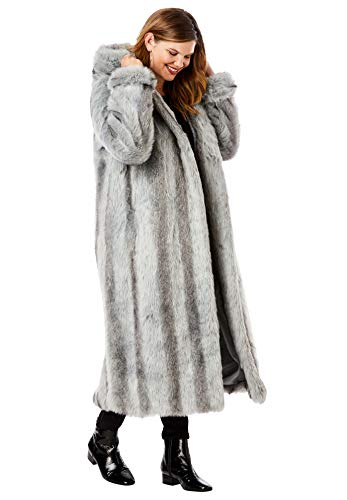 Roaman's Women's Plus Size Full Length Faux-Fur Coat With Hood - 1X, Chinchilla