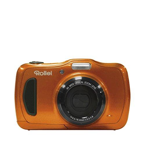 """Rollei Sportsline 100 - Cámara digital de 20 megapíxeles (Zoom x4, pantalla LCD de 2.7"""", función vídeo HD 720p, estanco al agua hasta 10 metros) - Naranja"""