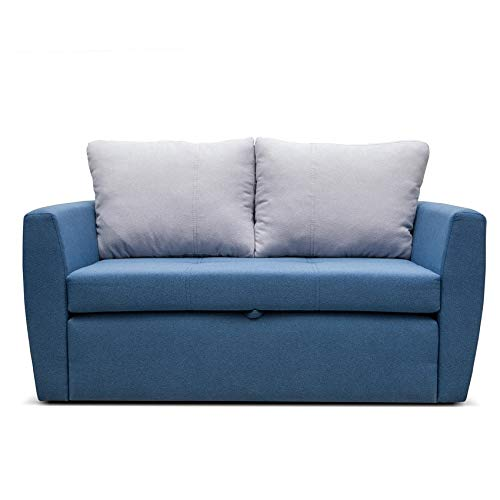 mb-moebel Sofa mit Schlaffunktion Klappsofa Bettfunktion mit Bettkasten Couch Sofagarnitur Salon Jugendzimmer SARA 120 (blau)