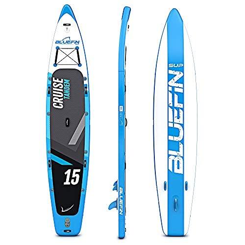 Paquete de Sup Bluefin Cruise | Tabla de Paddle Surf Hinchable | Remo de Fibra de Vidrio | Kit de Conversión a Kayak | Accesorios Completos | Varias Medidas: 10'8, 12', 15' (Azul 457cm)