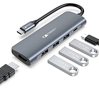 VEMONT USB C Hub, 5 in 1 Aluminum Type C Multiport Adapter to HDMI 4K with 3 ports USB 3.0, 100W USB C Power Delivery(PD) Charger, compatible for Laptop MacBook Air/Pro iPad XPS and more USB C device