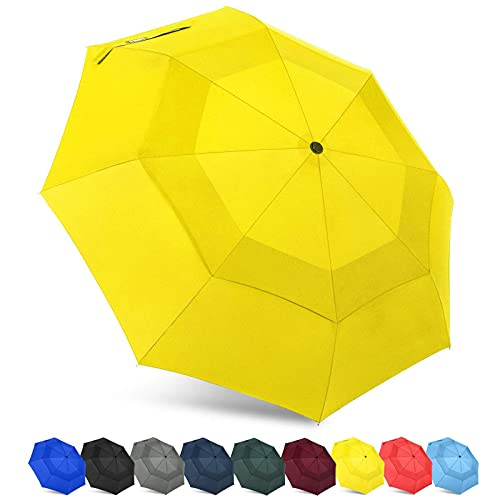 43 pulgadas a prueba de viento compacto plegable paraguas viaje fibra de vidrio costillas tela amarillo lluvia paraguas viaje al aire libre