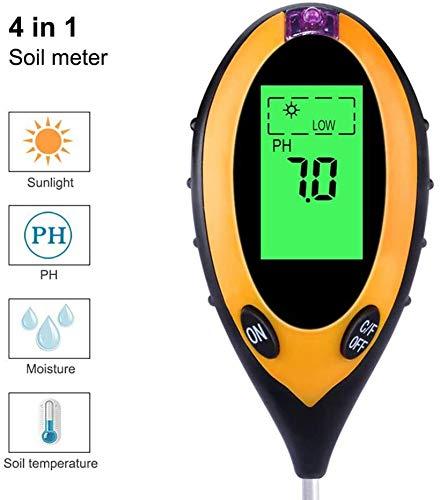 Pkfinrd 4-in-1 digitaal display voor planten, aarde, vloer, PH, luchtvochtigheid van de bodem, thermometer, tester zonlicht voor de landbouw, in de tuin