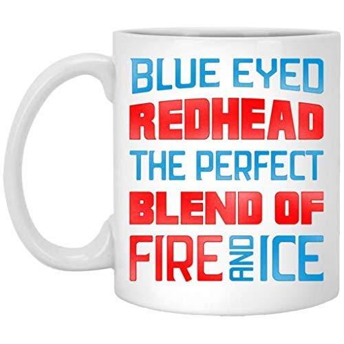 N\A Pelirroja de Ojos Azules, la combinación Fuego y Hielo Taza de café de cerámica