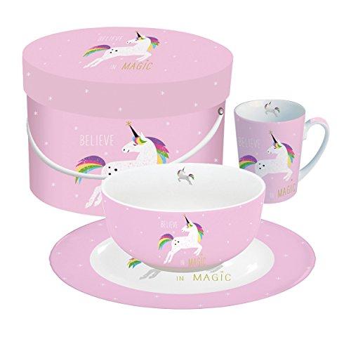 PPD Pink Unicorn Frühstücksset, Müslischale, Teller, Kaffee Becher, Frühstück, New Bone China, Pink, Ø 20.5 cm, 603252