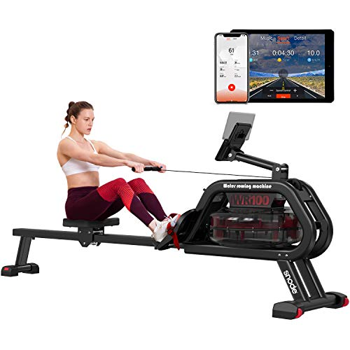 SNODE Water Rowing Machine with APP, Compact Rowing Machine Indoor Exercise Rower with Bluetooth Monitor, Soft Seat, Smooth Quiet Home Fitness Workout with Ipad Holder
