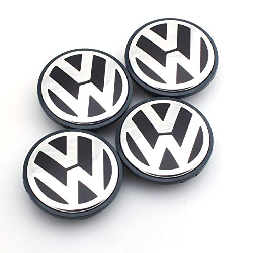 Tapas De Cubo De Centro De Rueda tapas de cubo ce 4 PCS/SET OEM 63 / 65mm Tapa de la rueda de la rueda Logo Hub Cap Bandeja compatible con VW Volkswagen Jetta MK5 Golf Passat 3 B7 601 171 Logotipo d