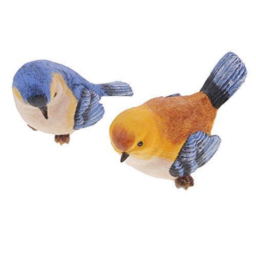 MagiDeal 2pcs Oiseaux de Simulation Résine Orange Bleu Décoration Jardin Maison