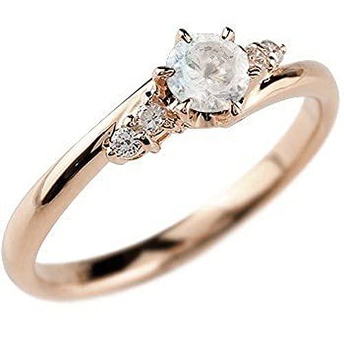 [アトラス]Atrus リング レディース 10金 ピンクゴールド ブルームーンストーン ダイヤモンド 指輪 エンゲージリング 6月誕生石 22号