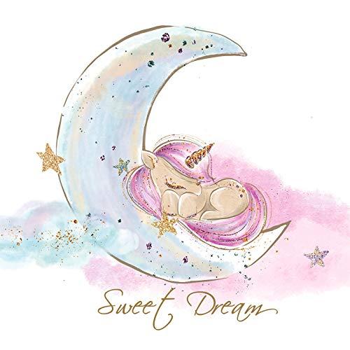 Little Deco Wandtattoo Sweet Dream Einhorn & Mond I (BxH) 92 x 60 cm I Kinderzimmer Babyzimmer Aufkleber Sticker Wandaufkleber Wandsticker Klebeposter DL157