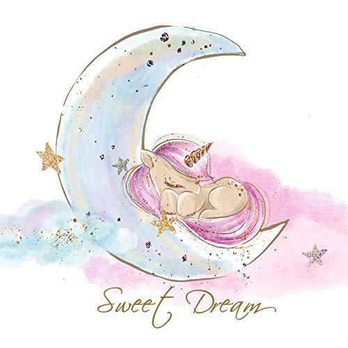 Little Deco Tatouage Mural Sweet Dream Unicorn & Moon I (LxH) 92 x 60 cm I Stickers Chambre d Enfant bébé muraux Posters DL157
