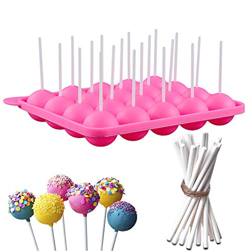 Dee Plus Silikon Cake Creative Keks Pop Backform,DIY Lutscher Silikonform Rosa,Silikon Backmatte für Süßigkeiten,Gelee,Kuchen und Schokolade,Backform mit 20 Mulden,Geschenk 20 15cm Stöcke und Beutel