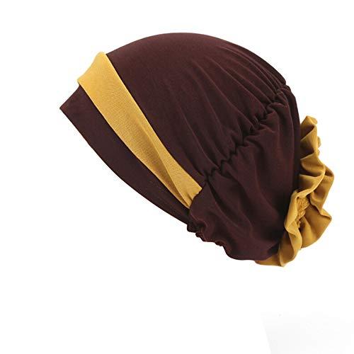EUBUY Womens Bathing Turban Pleated Turban Head Cover Turban Chemo Sleep Cap Hair Wrap Dark Curry