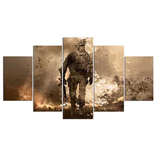 Call of Duty Spielfiguren Rahmenlose Poster Online-Spiele Schlafzimmer Studie Schlafsaal üBerdimensionale 5 Panel Dekorative Malerei