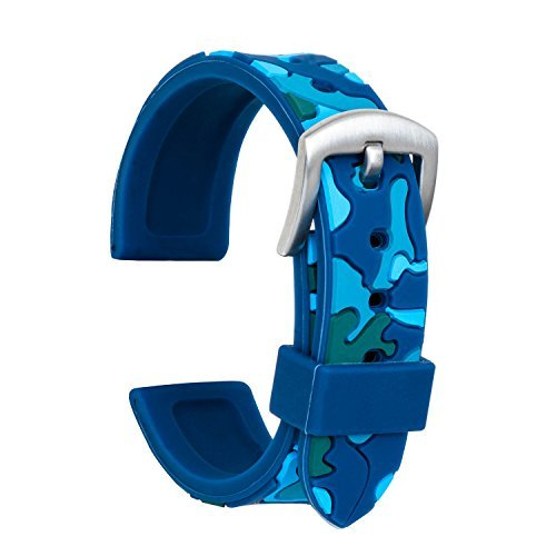 Ullchro Correa Reloj Calidad Alta Recambios Correa Relojes Caucho Camuflaje Hombre Mujer - 18mm, 20mm, 22mm, 24mm Silicona Correa Reloj con Acero Inoxidable Cepillado(22mm, Azul)