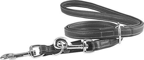 Knuffelwuff Midpines Hundeleine, Leder, verstellbar, Länge 200 cm, Breite 20 mm, Schwarz