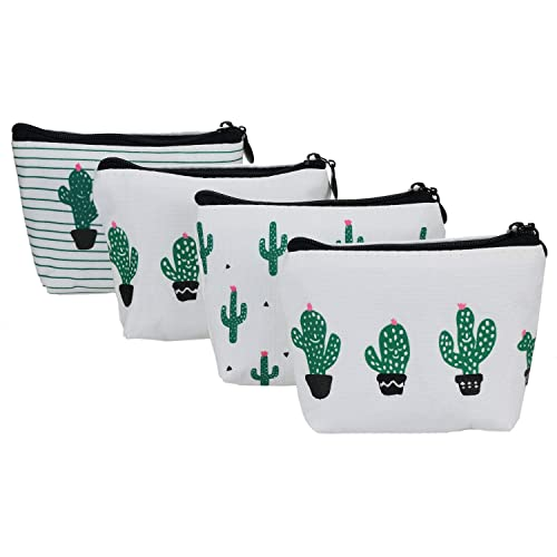 YOUSHARES 4 Confezioni Coin Purse - Mini Cactus Style Canvas Cash Bag Portafogli...