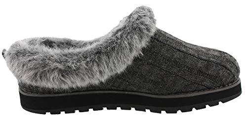 Skechers Keepsakes-Ice Angel, Zapatillas Bajas Mujer, Negro (CCL Black Cable Knit Sweater/Faux Fur Trim), 41 EU