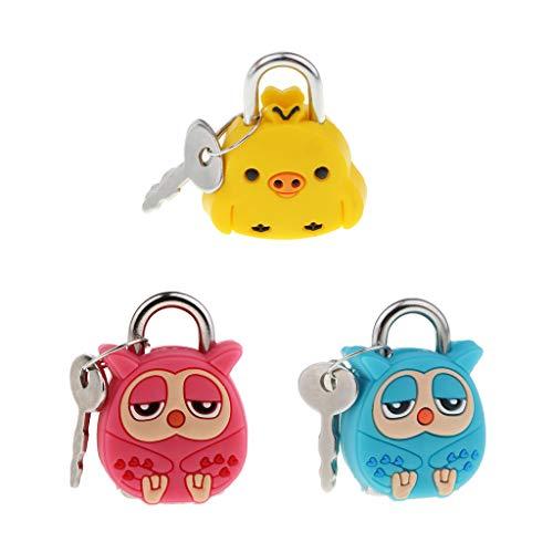freneci 3pcs Owl Chick Animal Mini Creative Waterproof Key Locks Cartoon Trunk Lock
