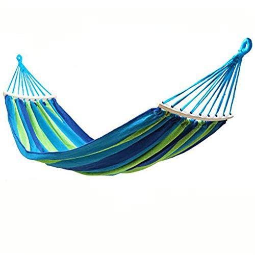 HOUSEHOLD Hamac pour Voyage Camping Randonnée Jardin Bleu Stripes courbé bâton Simple Hamac épais Toile Hamac 280x80cm