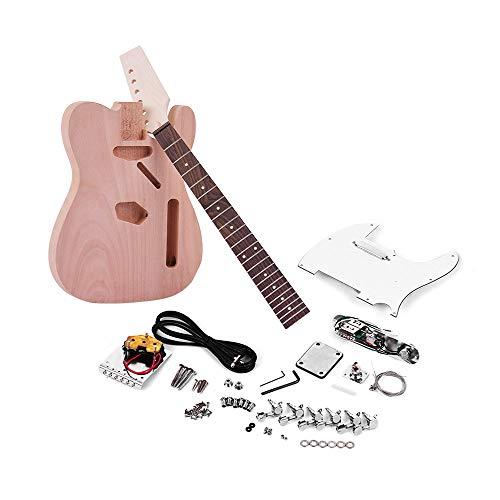 Muslady DIY Guitarra Electrica TL Tele Style Cuerpo de Caoba Madera de Arce Cuello Diapasón de Palisandro
