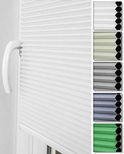 Home-Vision® Premium Doppelplissee Wabenplissee ohne Bohren mit Klemmträger / -fix (Weiß, B80cm x H150cm) Einfarbig Blickdicht Sonnenschutz Jalousie für Fenster & Tür