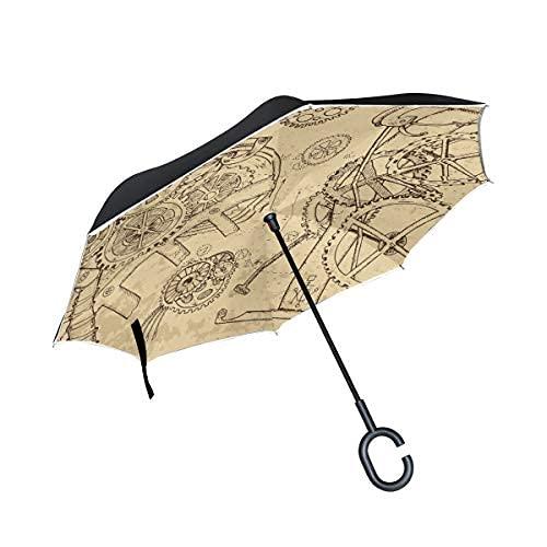 Retro Machine Steam Punk relojes paraguas inversa paraguas paraguas con forma de C mango para coches, mujeres y hombres