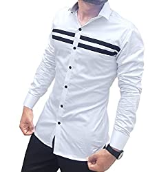 S.N. Mens Cotton Casual Long Sleeves Slim Fit Shirt