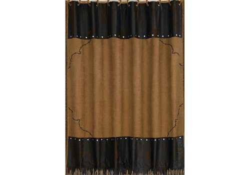 """HiEnd Accents Barbwire Western Faux Suede Shower Curtain & Rings Bath Set, 72"""" x 72"""", Tan & Chocolate"""