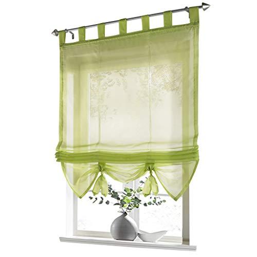 ESLIR Raffrollo mit Schlaufen Gardinen Küche Raffgardinen Transparent Schlaufenrollo Vorhänge Modern Voile Grün BxH 120x155cm 1 Stück
